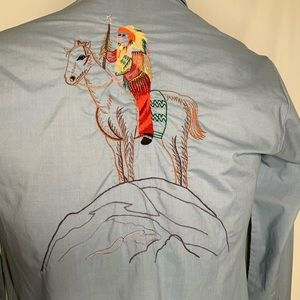 Vtg 70's Rocking R Ranchwear Embroidered Indian